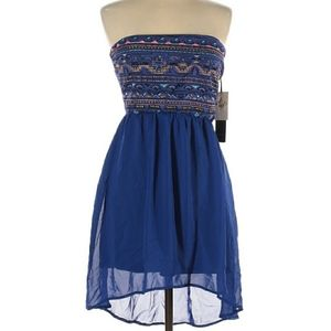 DEX Strapless High Low Embroidered Dress